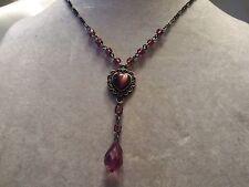 Antiqued Silvertone w/ PURPLE Glass Accents & Drop HEART Pendant Necklace 14N710