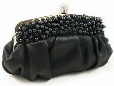 Womens evening HANDBAG shoulder bag clutch RHINESTONE CRYSTAL purse BLACK NEW