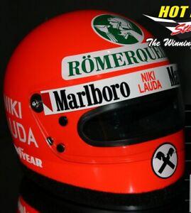 1/2 Niki Lauda Helmet 1976 Vinyl missing decals suit  F1 Ferrari
