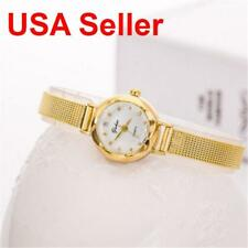 USA Seller Fashion Women Gold Bracelet Wrist Watch Stainless Steel Crystal Dial