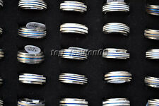 Wholesale Lot Jewelry 10pcs Stainless Steel Blue Line Silver Rolling Rings FREE