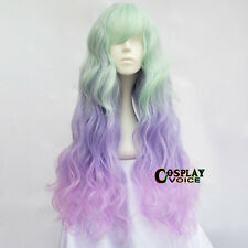 Harajuku Lolita Light Green & Purple &Pink Gradient 65CM Curly Girls Cosplay Wig