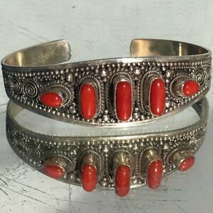 Genuine Coral Sterling Silver Cuff 925 Repousse .925 Southwestern Natural Wide