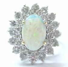 Fine Opal Diamond White Gold Anniversary Jewelry Solitaire W Accents Ring 2.85Ct