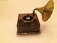 Vintage Phonograph Gramophone Record Player Music Box Star Dust Clear box Japan