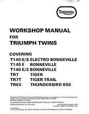 Triumph workshop service manual 1979, 1980 & 1981 T140 E/S ELECTRO BONNEVILLE