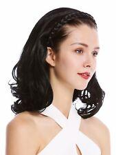 Halbperücke Haarteil edel geflochtener Haarreif schulterlang 45cm Locken Schwarz
