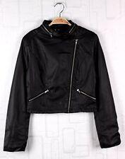H&M biker jacket leather waist coat Divided waterproof Skinny zip collar L Black