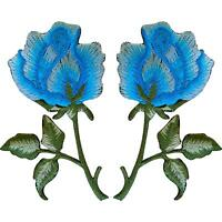 Pair of Blue Rose Patches Iron On / Sew On Embroidered Patch Badge Roses Flowers
