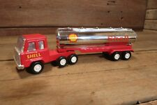 Vintage RED CHROME SHELL Tanker Truck Semi Pressed Steel - IN GREAT CONDITION!