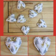 Handmade Christmas Xmas Festive Shabby Chic Heart Garland Bunting