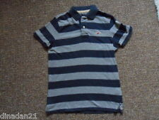 Hollister men's polo t-shirt, size S, striped blue/grey, short sleeve