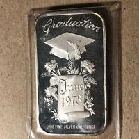 1973 Graduation 1 Oz .999 Silver Art Bar