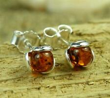 CERTIFIED COGNAC BALTIC AMBER & 925 STERLING SILVER STUDS EARRINGS 5966