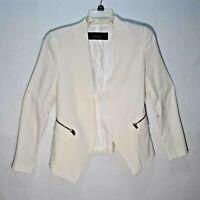 Zara Basic Women Size S Open Front Blazer Jacket Lined Career Office Zip pockets