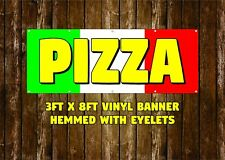 NEW PIZZA VINYL BANNER 3' X 8' HEMMED WITH EYELETS BUSINESS STOREFRONT