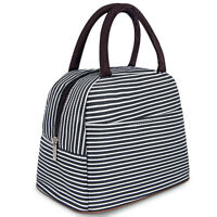 Women Men Cooler Insulated Stripe Picnic Lunch Bag Portable Box Thermal Food Hot