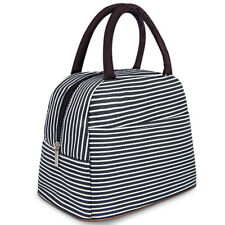 Women Men Cooler Insulated Stripe Picnic Lunch Bag Portable Box for Thermal Food
