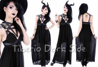 RESTYLE Pentagram Harness Straps Bust Cups Black Chiffon Nu Goth Long Maxi Dress
