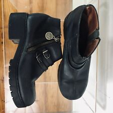 Double H woman's ankle boots booties biker Black leather Grunge Zupper SIZE 9 M