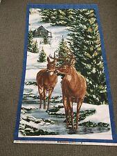 Deer Fabric Panel Winter Snow Quilt Panel Flannel Cabin Woods Stag Wildlife Buck