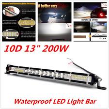 """10D 13"""" 200W Car Aluminum Slim Waterproof LED Light Bar Lamp Flood Spot Combo"""