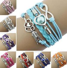 Multi Layer Infinity Love Heart Bracelet Cute Pearl Wing Charm Leather Bangle UK