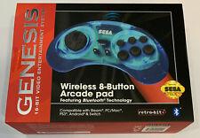 Retro-Bit 2.4 GHz Wireless Controller 8-Button Sega Genesis Original Blue SEALED