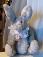 "Rabbit artist made grey/white 13"" Vintage 90's jointed ears rotate whisker super"