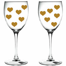 100 x gold hearts / hearts WINE GLASS/ VINYL STICKERS / DECAL xmas festive
