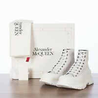 ALEXANDER MCQUEEN 690$ Men's Tread Slick Sneaker Boots In White Suede