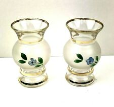 Set of 2 Vintage Frosted Vases Small Blue Flowers Gold Trim Mid Century