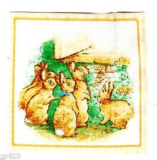 "2.5"" Beatrix potter bunny rabbit square nursery wall safe fabric decal cut"