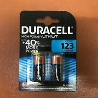 NEW 2 X DURACELL CR123 3V LITHIUM PHOTO BATTERY DL123A/CR17345 LONGEST EXPIRY
