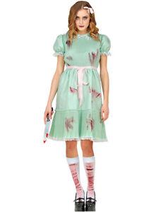Killer-Puppe - Halloween Geister Hexenkostüm für Damen   Grün Weiß Horror Party