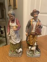 "Vintage Old Man and Woman Bisque Figurines 13"" Tall each Lady W cats, Man w Dog"