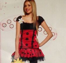 "Red Black Dots Jr Size S/M 26"" Bust Daisy Bug Leg Avenue Dress w Wings Costume"