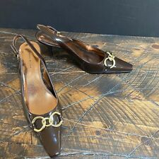 Etienne Aigner Women's Patent Leather Brown Buckle Slingbacks Heels Size 10