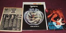 Whitesnake DPurple vintage tourbook, Coverdale poster rare photos clips & button