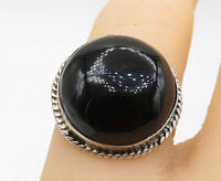 925 Sterling Silver - Vintage Cabochon Cut Black Onyx Cocktail Ring Sz 6- R10918