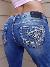 Silver Jeans AIKO BOOTCUT Studded Rhinestone Jeans BLUE/TAG:26/33 Measured 27X33