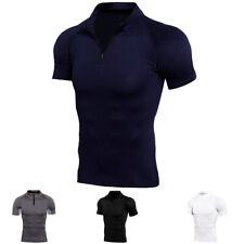 Мужские сжатия футболка 1/4 на молнии ложный воротник баскетбол топ быстросохнущие дышащие