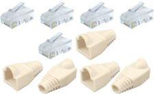 Trabajo Lote De 10 5x Rj45 Cat5e Crimp Plug Cable Extremos + 5x Botas Blancas Red Lan