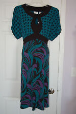 "NEW Plus Size DUO Maternity Shapely Dress ""Peacock"" 2X Teal/Black/Purple"