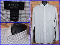J.CREW White Check Btn Front L/S 2 Ply Dress Shirt For Work Mens L Slim Non-Iron