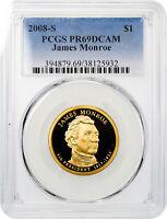 2008-S James Monroe Presidential Dollar PCGS PR69 DCAM