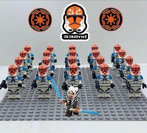 21Pcs Ahsoka Tano 332nd Star Wars Clone Trooper Minifigures For LegoMoc Toys