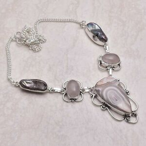 Crazy Lace Agate Rose Quartz Handmade Necklace Jewelry 27 Gms AN 52083