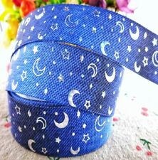 """1"""" 2 YARDS Foil Moon & Stars Ribbon Grosgrain Space Baby Hair Bow Cards Crafts"""