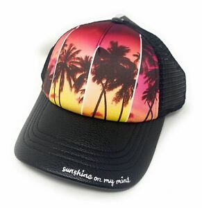 """Summertime Ladies' """"Sunshine On My Mind"""" Faux Leather and Mesh Trucker Cap"""